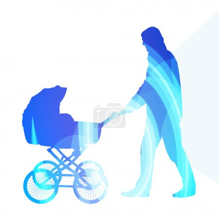 Dad with baby strollers, carriage walking man silhouette illustr
