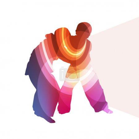 Judo abstract man silhouette illustration vector background colo