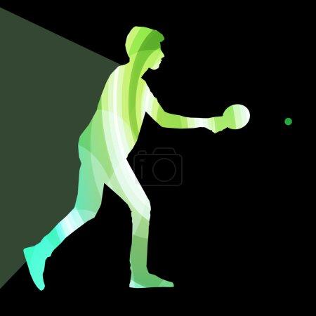 Table tennis player man silhouette illustration vector backgroun