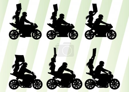Motorcycle performance extreme stunt driver man and woman vector