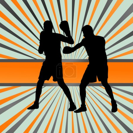 Boxer boxing man in action sport vector background