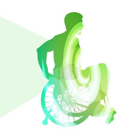 Illustration pour Handicapés actifs concept de fond vecteur de fauteuil roulant - image libre de droit