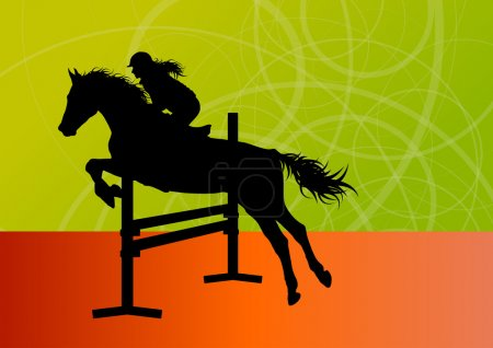 Jumping horses with jockey equestrian sport vector...