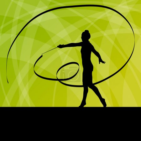 Kid girl with ribbon rhythmic gymnastics vector background conce