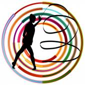 Silhouette of gymnast girl art gymnastics with ribbon abstract c