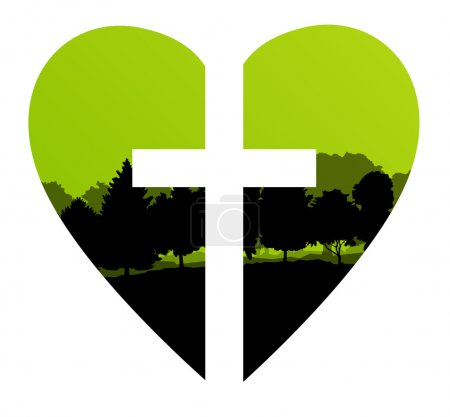 Cross heart tree landscape background vector abstract Christiani