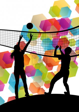 Volleyball player silhouettes in sport abstract vector backgroun