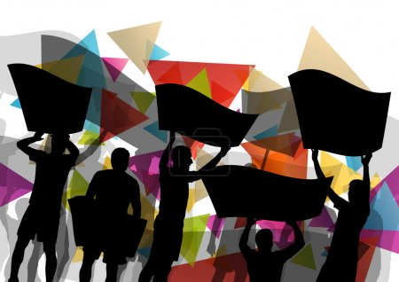 People silhouettes of cheering or protesting man and women with