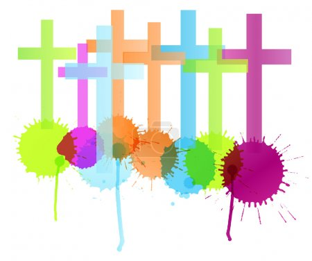 Cross with color splashes background isolated vector abstract Ch