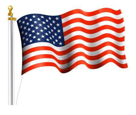 Illustration pour Drapeau américain sur mât drapeau - image libre de droit