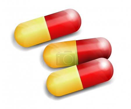 Illustration for Capsules Pills with shadows - Royalty Free Image