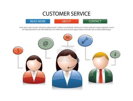 Illustration pour Homme femelle centre d'appel avatar icônes un homme et une femme sans visage portant des écouteurs avec des bulles de parole colorées conceptuel de la conception de la communication des services à la clientèle - image libre de droit