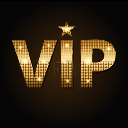 Vector VIP golden lights icons in black background...