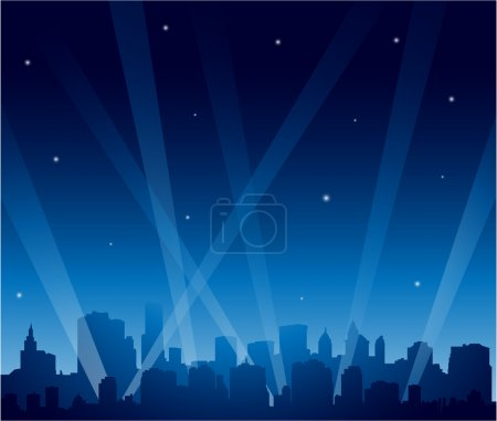 Illustration for Party city at night background - Royalty Free Image