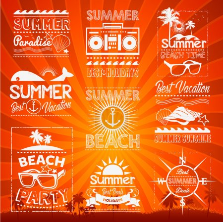 Retro hand drawn elements for Summer calligraphic designs Vintage ornaments