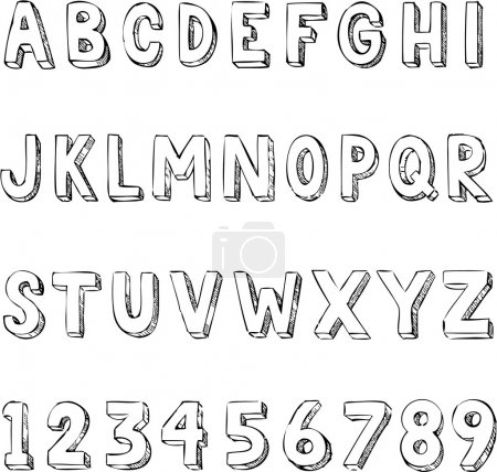 Illustration for Hand drawn trendy alphabet typography with letters and numbers - Royalty Free Image