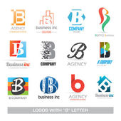 Business icons set with b letter