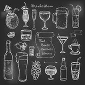 Alkohol és italok koktélok menü tábla