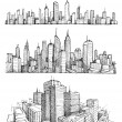 Hand drawn big cities cityscapes and buildings...