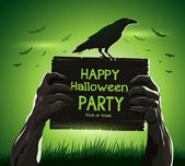 Halloween vector illustration zombies arms from the ground with invitation banner party