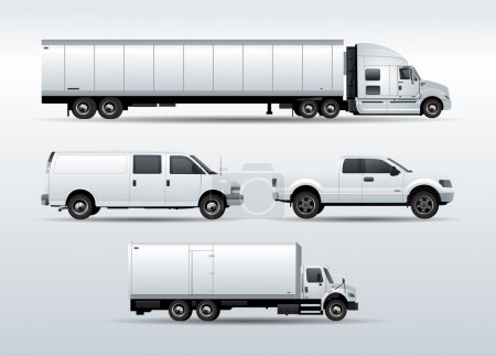 Trucks collection for transportation cargo vector illustration isolated on white background