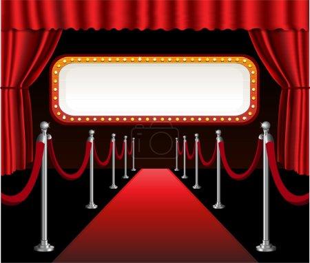 Illustration pour Tapis rouge film première événement élégant rideau rouge théâtre et panneau d'affichage bannière signe - image libre de droit