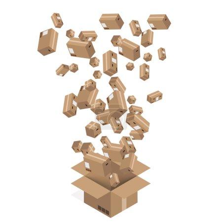 Vector modern cardboard boxes set. Delivery