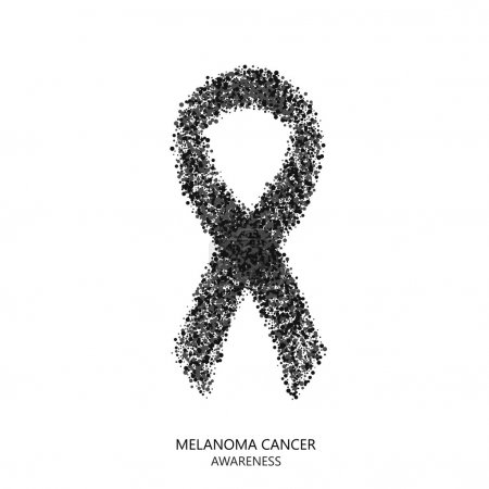 Illustration for Vector modern melanoma cancer awareness circles desigen. black ribbon isolated on white background - Royalty Free Image