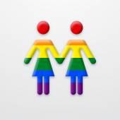 Vector modern lesbian two women on white background