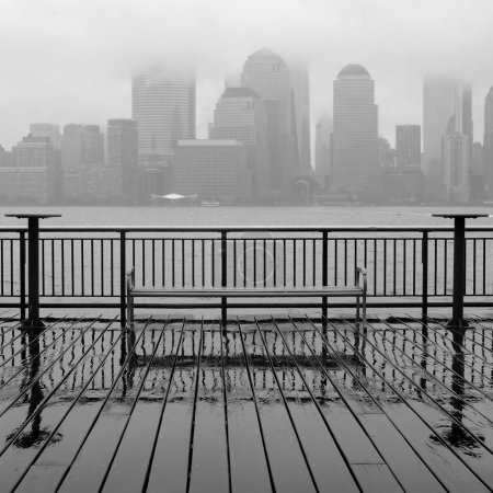 New York City skyline on a rainy day