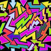 Vector illustration of seamless graffiti pattern Arrows in the random colors