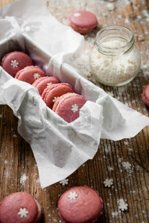 Christmas macaroons, close-up
