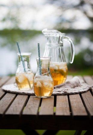 Ice tea with mint leaves