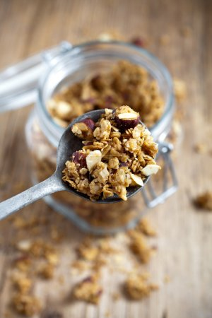 granola with hazelnuts and almonds