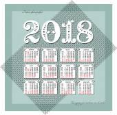 Russian calendar for 2018
