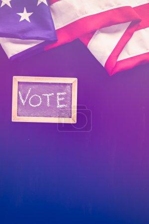 Vote sign on chalk board