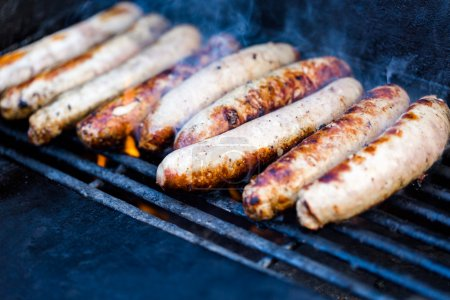 Cooking meats on barbecue grill