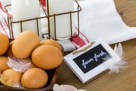 Fresh farm eggs and milk