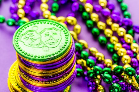 Multicolored decorations for Mardi Gras party
