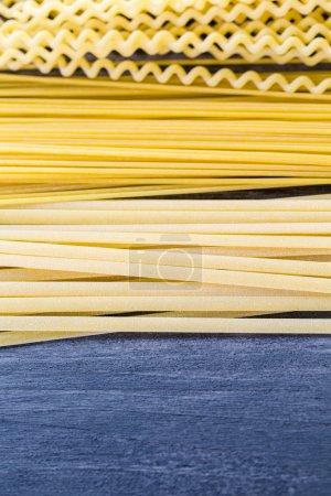 Variety of organic dry pasta