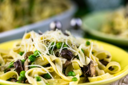 Fettuccine with mushrooms close up