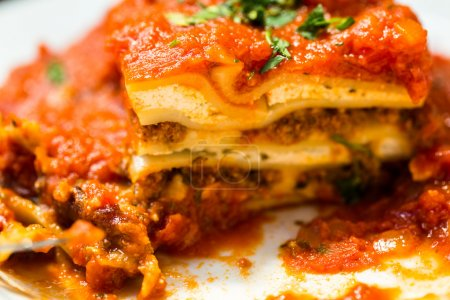 Homemade Lasagna on the table