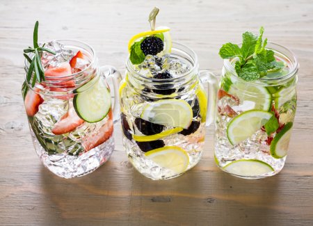 Water made with organic citruses and berries