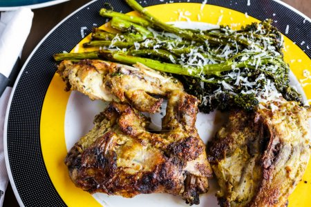 Roasted chicken with broccoli