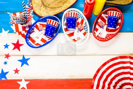 White, blue and red decorations for July 4th barbecue