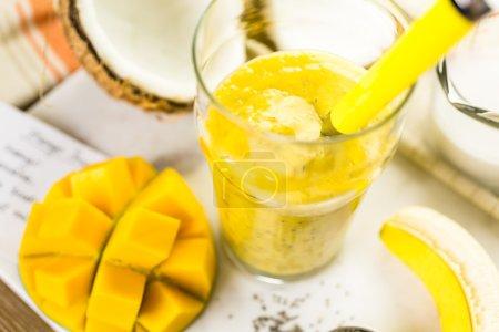 mango banana smoothie with chia seeds