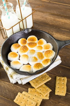 Smores dip prepared with large marshmallows