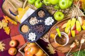 Plátky čerstvých karamelové jablko