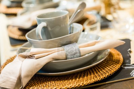 Table set with plates and silverware
