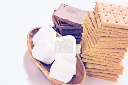 Smores station with large white marshmallows